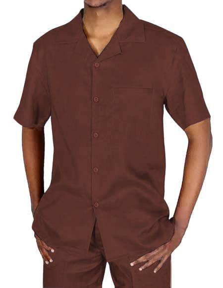 Men's Collared Button Closure Brown Short Sleeve Shirt