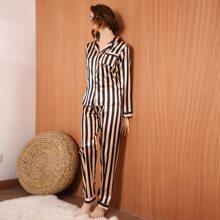 Striped Button-up Satin Pajama Set