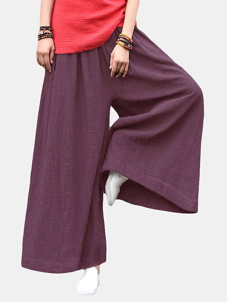Vintage Women Solid Elastic Waist Drawstring Wide Leg Pants