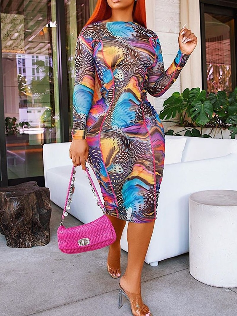 Ericdress Print Long Sleeve Round Neck Regular Color Block Dress