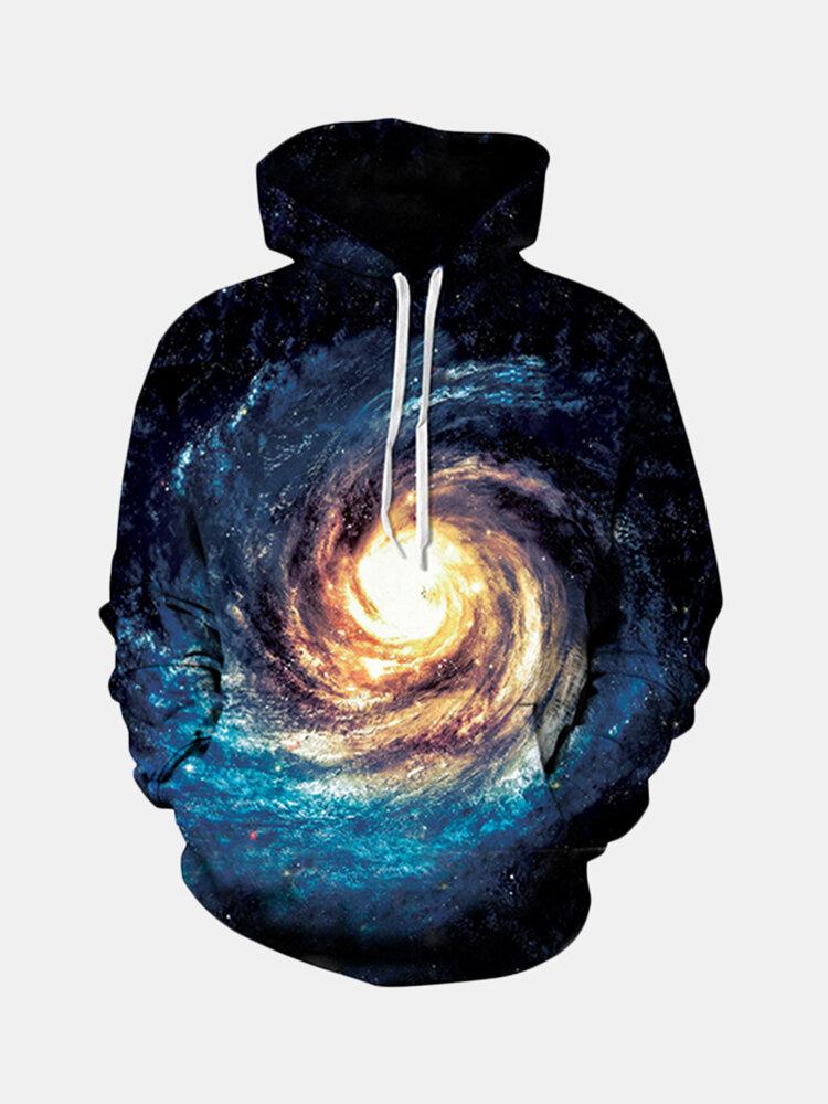 Mens Fashion Space Printing Hoodies Casual Sport Sweatshirt