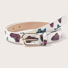 Guertel mit Schmetterling Muster und metallischer Schnalle