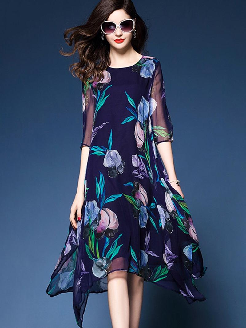 Ericdress Silk Delicate Print Asymmetrical Flowy Casual Dress