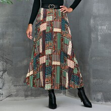 Paisley Print Pleated Maxi Skirt Without Belt