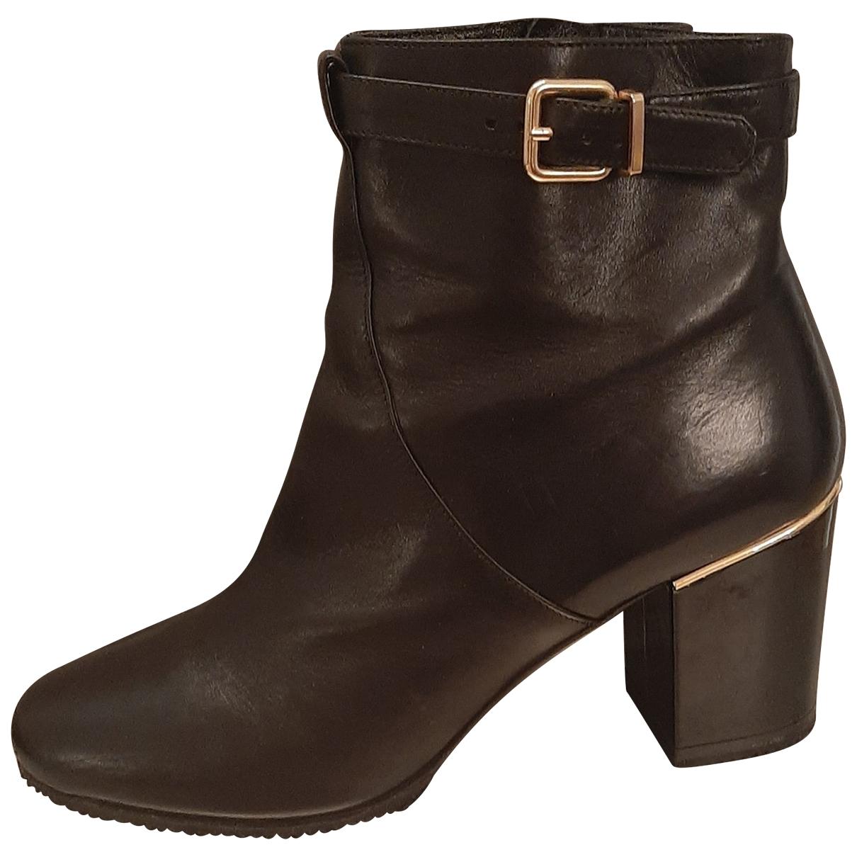 Robert Clergerie - Boots   pour femme en cuir - noir