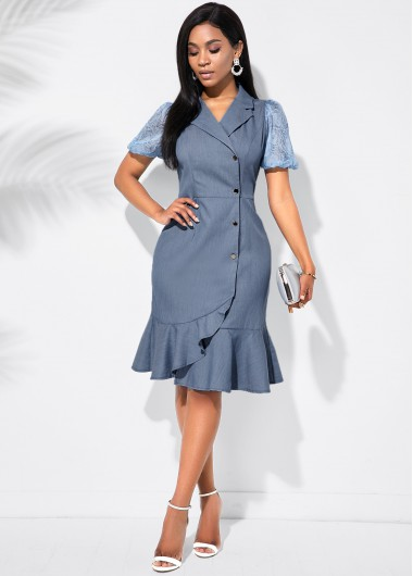 Cocktail Party Dress Notch Collar Ruffle Hem Inclined Button Dress - L