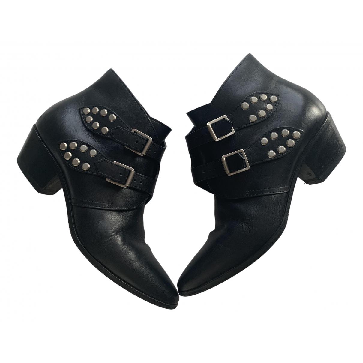 Saint Laurent \N Black Leather Ankle boots for Women 36.5 EU