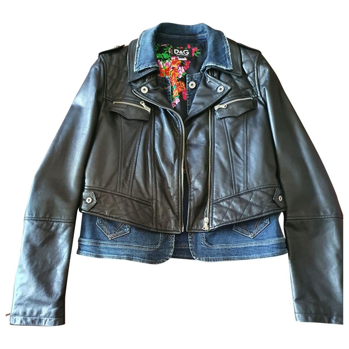 D&g \N Black Leather jacket for Women 48 IT