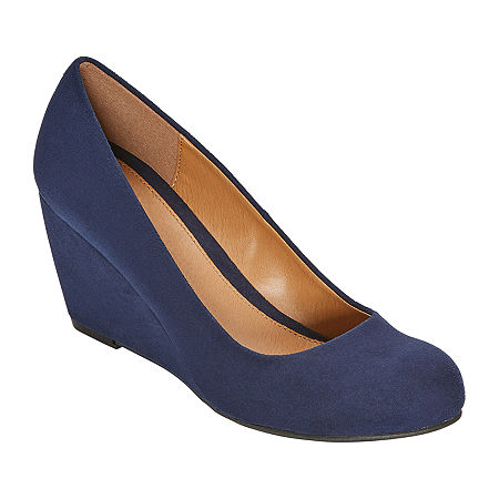 CL by Laundry Womens Nima Closed Toe Wedge Heel Pumps, 6 Medium, Blue