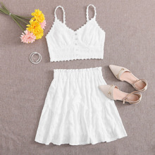 Plus Appliques Shirred Back Cami Top And Skirt Set