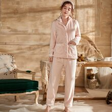 Contrast Lace Flannel PJ Set