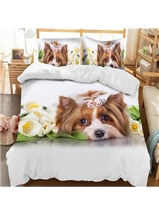 Lovely Dog With Flowers Soft 3D Printed Polyester 3-Piece Bedding Sets/Duvet Covers