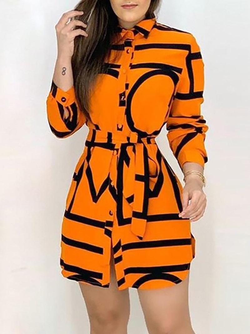 Ericdress Print Long Sleeve Above Knee Asymmetrical High Waist Dress
