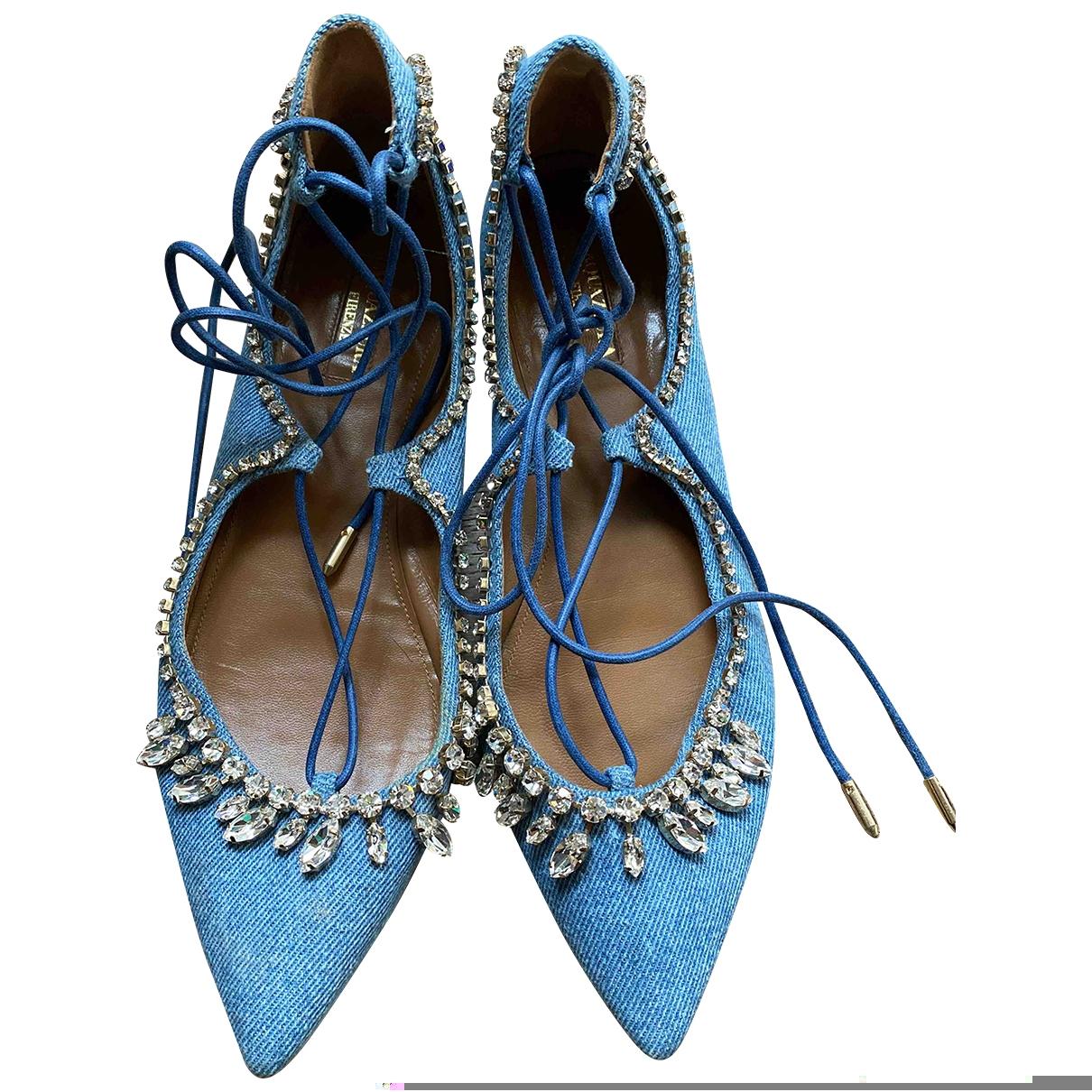 Aquazzura - Mocassins   pour femme en toile - bleu