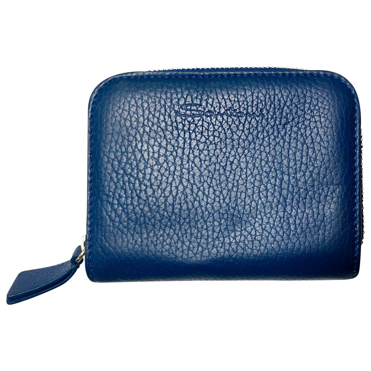 Santoni \N Kleinlederwaren in  Blau Leder