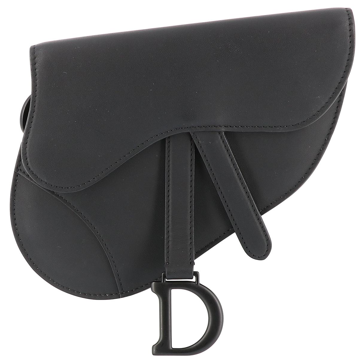 Dior Saddle Clutch in  Schwarz Leder