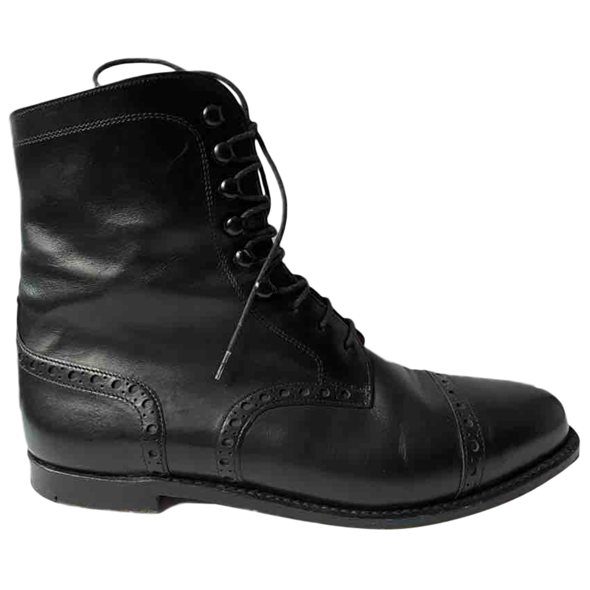 Non Signé / Unsigned \N Black Leather Ankle boots for Women 6.5 UK