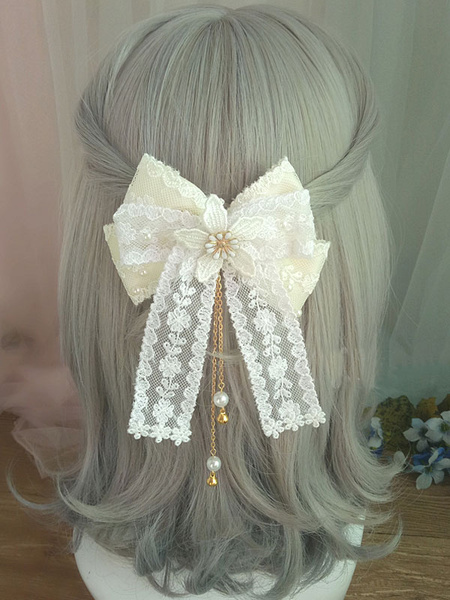 Milanoo Sweet Lolita Hair Clasp Lace Bow Pearl Embroidered Ecru White Lolita Hair Accessory