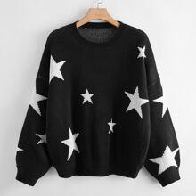 Pullover mit sehr tief angesetzter Schulterpartie und Stern Muster