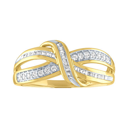Womens 1/4 CT. T.W. Genuine Diamond 10K Gold Cocktail Ring, 7 , No Color Family