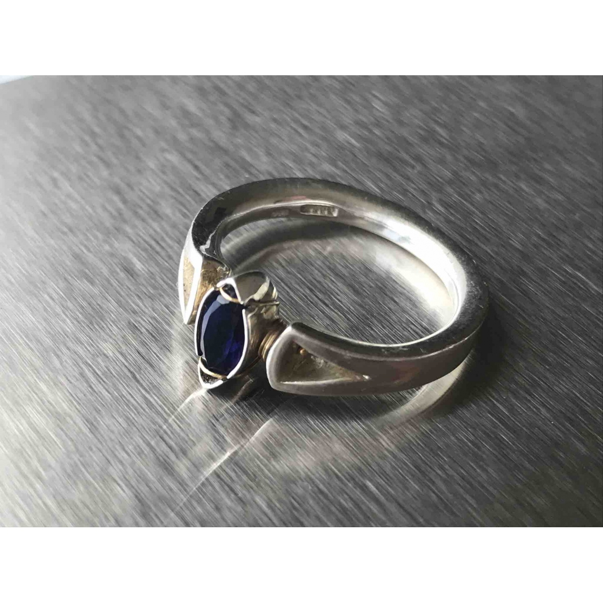 Non Signe / Unsigned Saphir Ring in  Silber Silber