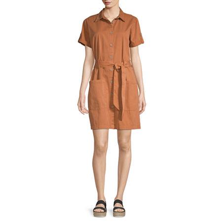 a.n.a Short Sleeve Shirt Dress, Large , Brown