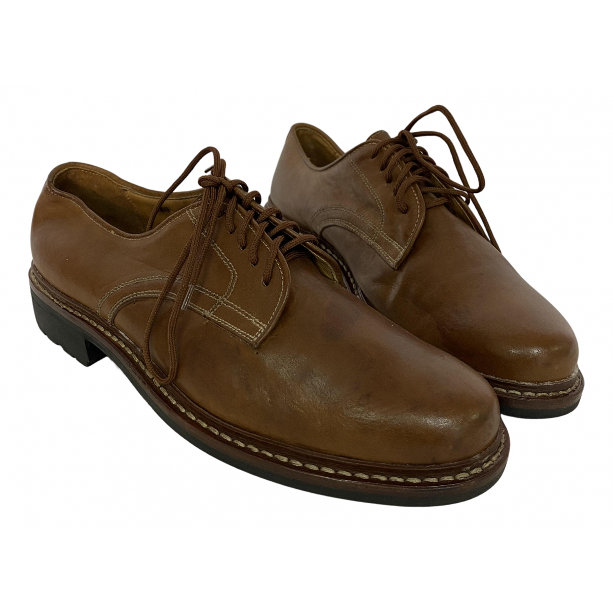 Pollini N Brown Leather Lace ups for Men 44.5 EU