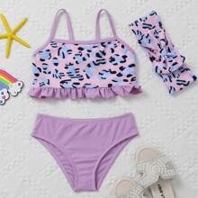 Bikini Badeanzug mit komplettem Muster, Ruesche & Stirnband
