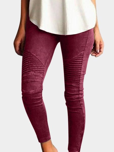 Yoins Burgundy Elasticity Bodycon High-waisted Pants