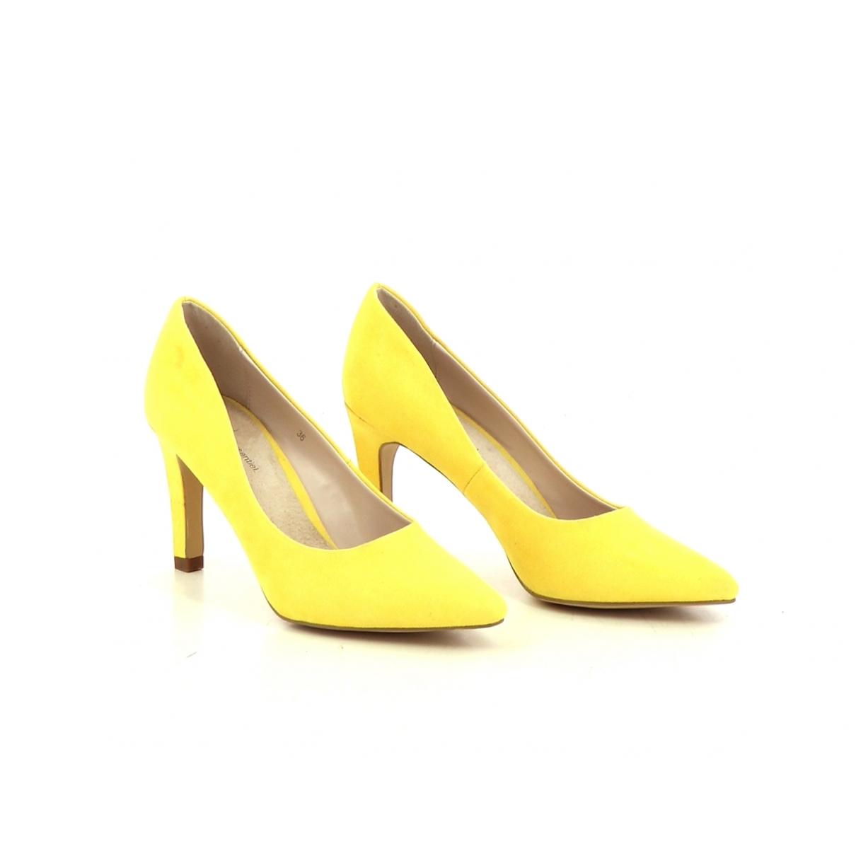 - Escarpins   pour femme en cuir - jaune