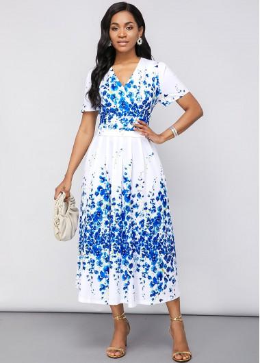 White Dresses Blossom Print Short Sleeve V Neck Dress - 14