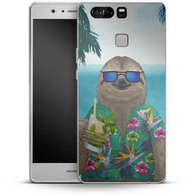 Huawei P9 Silikon Handyhuelle - Summer Sloth Drinking Mojito von Barruf