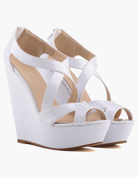 Milanoo Yellow Wedge Sandals Criss-Cross Peep Toe Patent PU Gorgeous zip up Platform Heels Sandals for Woman