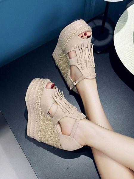 Milanoo Woman\'s Wedge Sandals Attractive Micro Suede Upper Tassel Strap Adjustable Wedge Sandals