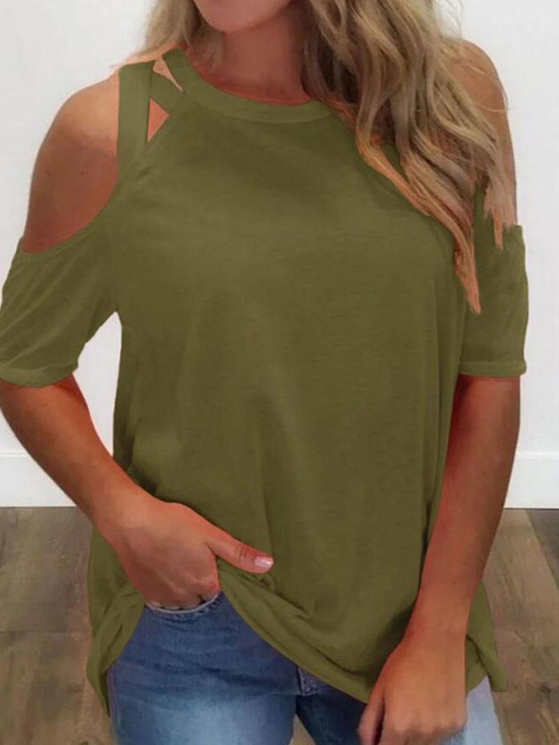 Ericdress Plain Mid-Length Round Neck Casual Summer T-Shirt