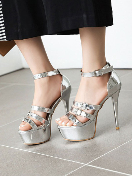 Milanoo Sexy Sandals For Woman PU Leather Round Toe Sexy Shoes