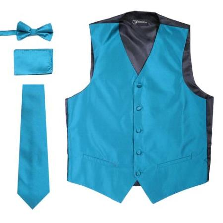 Mens 4PC Big and Tall Vest & Tie & Bow Tie and Hankie Solid Teal