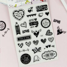 1sheet Heart Print Sticker