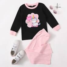 Sweatshirt mit Karikatur & Buchstaben Grafik und Jogginghose