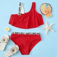 Girls Letter Tape Ruffle Bikini Swimsuit