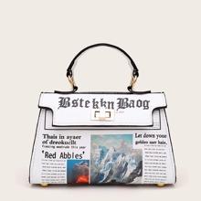 Letter Graphic Flap Satchel Bag