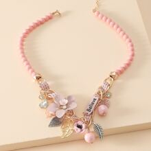 Flower Bead Charm Necklace