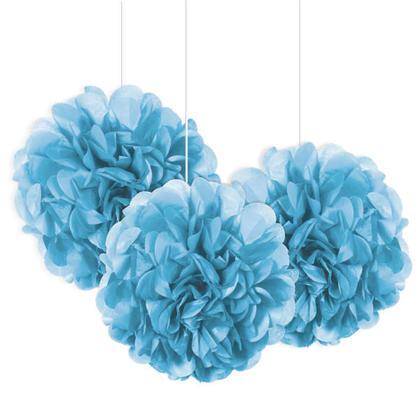 Mini Puff Tissue Party Decorations Powder Blue 8'' 3Pcs