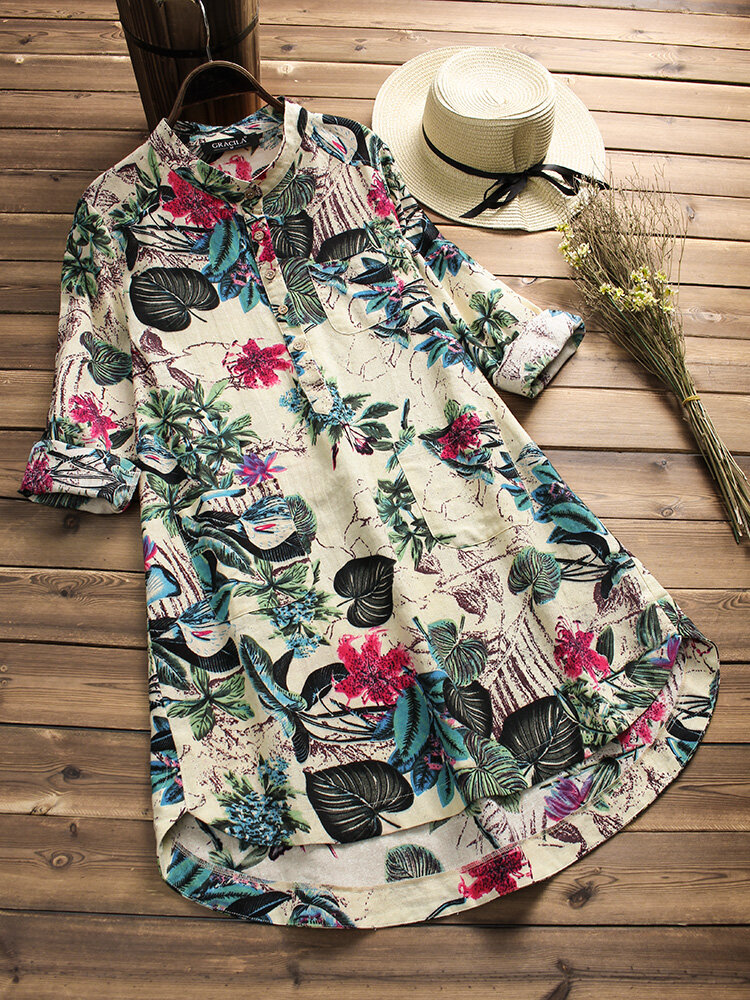 Printed Stand Collar Long Sleeve Casual Button Blouse