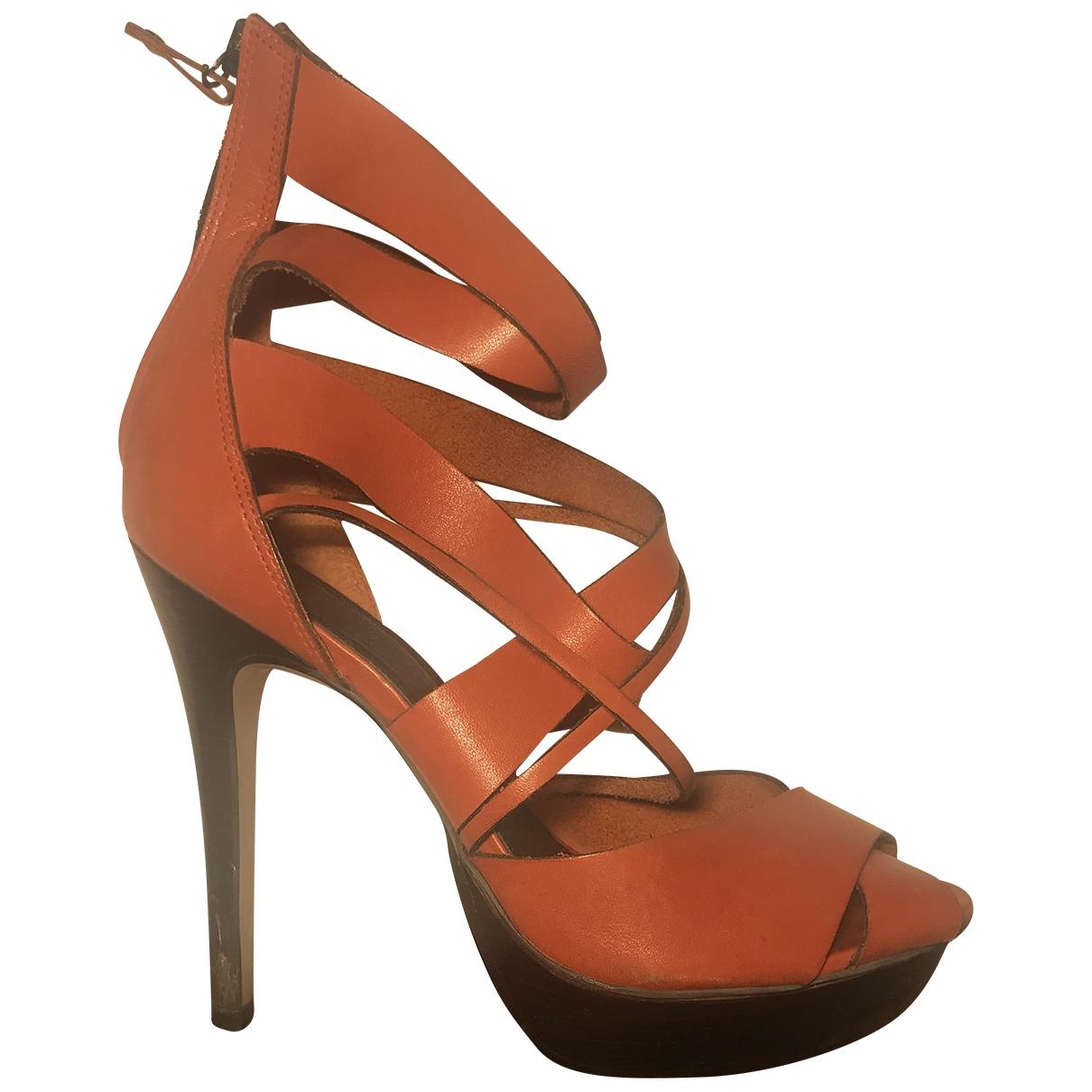 Topshop - Sandales   pour femme en cuir - orange