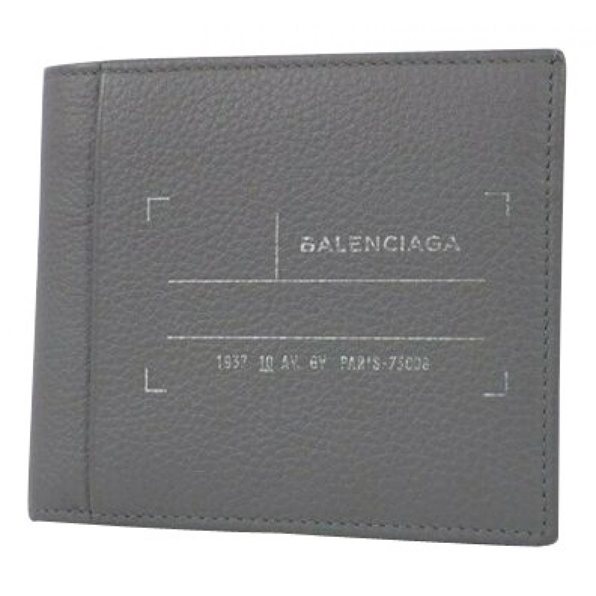Balenciaga - Portefeuille   pour femme en cuir - gris