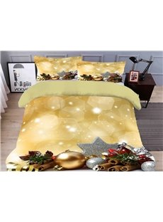 Christmas Ornament Duvet Cover Set 3D Christmas 4-Piece Polyester Bedding Sets/Duvet Covers