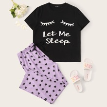 Plus Eye and Slogan Graphic Top & Heart Print Pants Pj Set