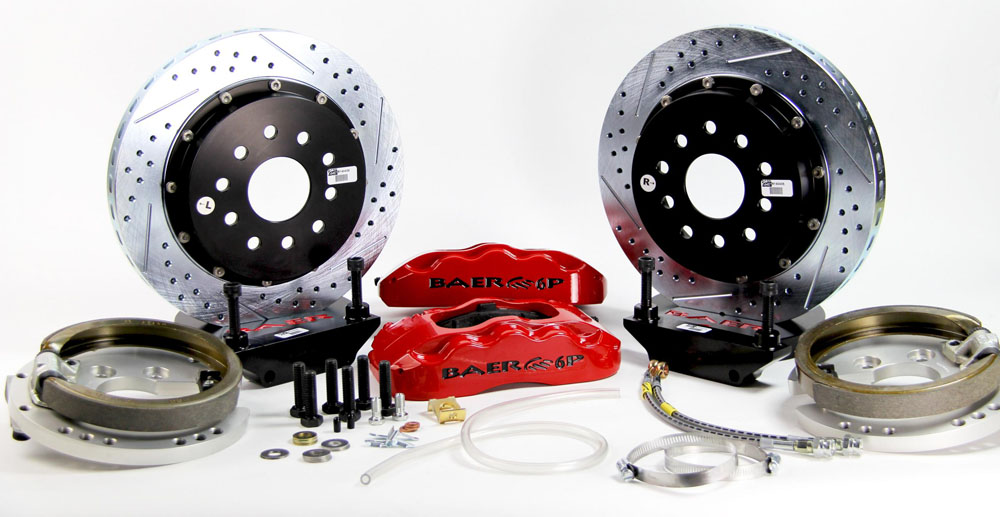 Baer Brakes Brake System 14 Inch Rear Pro+ w/Park Brake Red 65-66 Mustang Orig Standard Bearing Rear