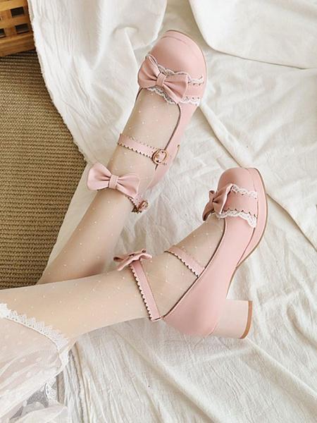 Milanoo Sweet Lolita Footwear BowsLace PU Leather Chunky Heel Lolita Pumps
